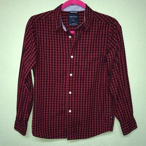 Boys red gingham button down